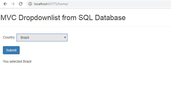 Populate ASP.NET MVC Dropdownlist from Database - Page UI Design