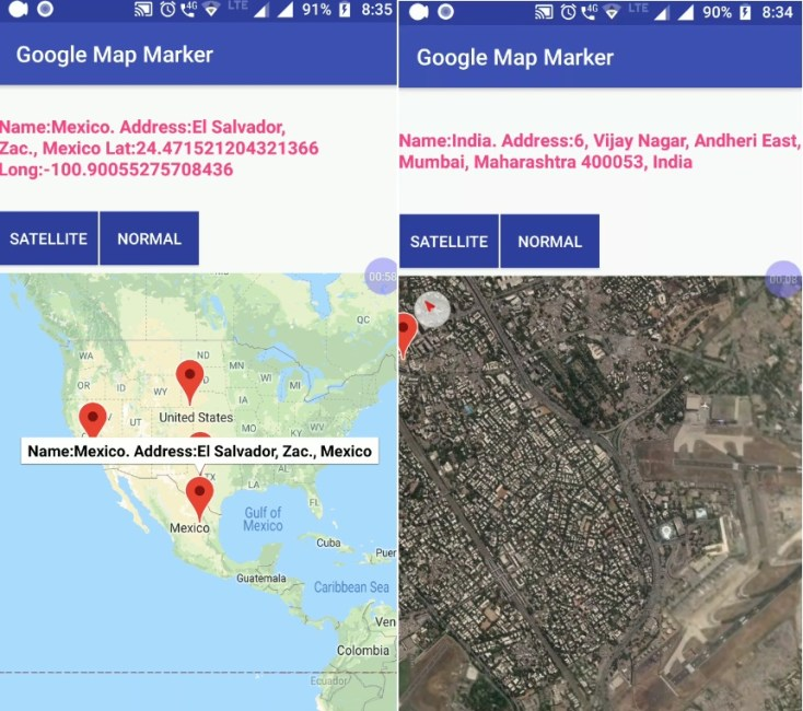 Android Add Markers to Google Maps and Get LatLng Address 01