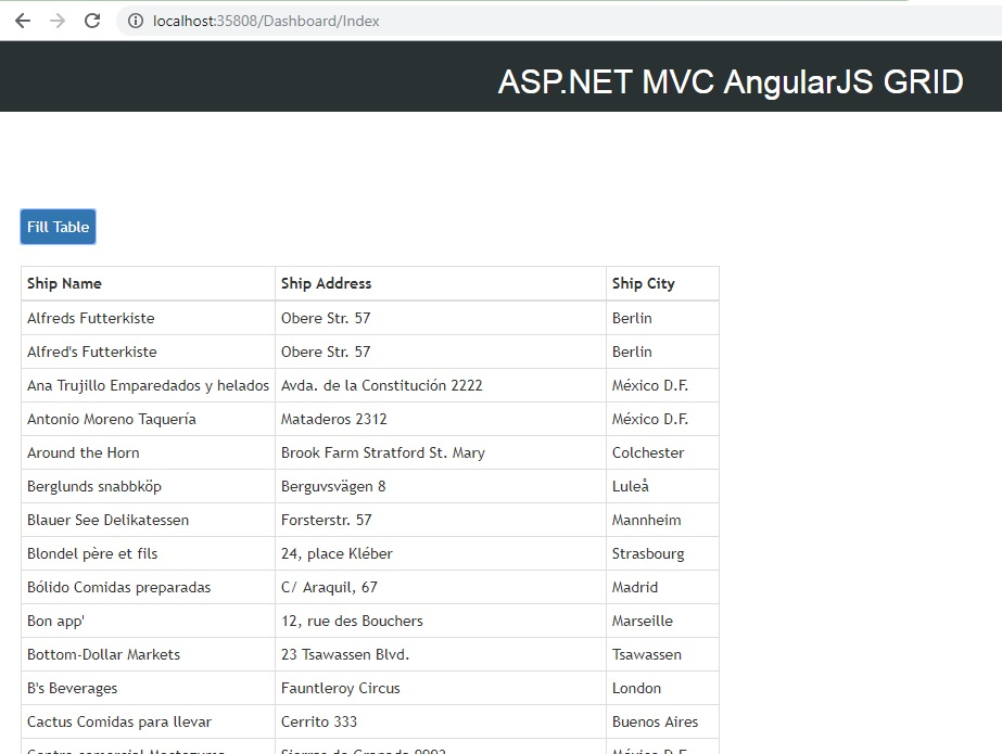 Angular JS Bind Grid Html Table from SQL in ASP NET MVC C#