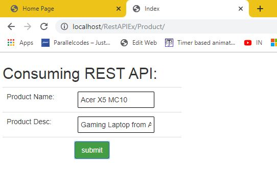 Using Web service REST API in ASP.NET MVC forms 01