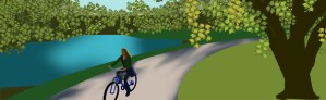 Parallel Design is located in Davis, CA. (Person riding bicycle next to Putah Creek.)