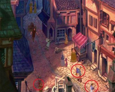 El jorobado de Notre Dame - En la escena en la que el sale por primera ves a la calle vemos a Bella de la Bella y La Bestia, la alfombra magica de aladino y Pumba de El Rey Leon.