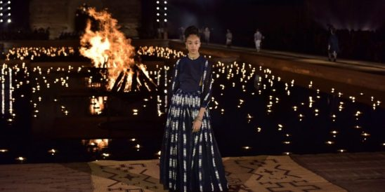 epa07537160 A model presents a creation from the Dior Cruise collection 2020 by Italian designer Maria Grazia Chiuri at the El Badi Palace in Marrakech, Morocco, 29 April 2019.  EPA/JALAL MORCHIDI