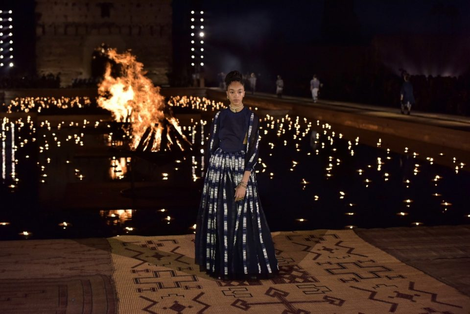 epa07537160 A model presents a creation from the Dior Cruise collection 2020 by Italian designer Maria Grazia Chiuri at the El Badi Palace in Marrakech, Morocco, 29 April 2019.  EPA/JALAL MORCHIDI