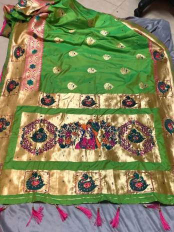 Hand Work Silk Saree With Weaving Work