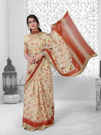Gadhwal Cotton With Embroidery Work Saree