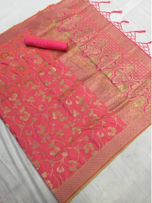 Soft Patoda Silk Saree with Jhalar