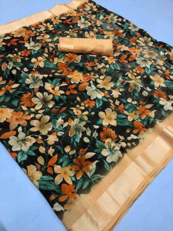 Linen Flower Print Saree