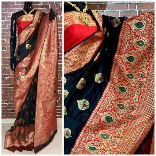 Banarasi Silk Saree with Contrast Zari Border