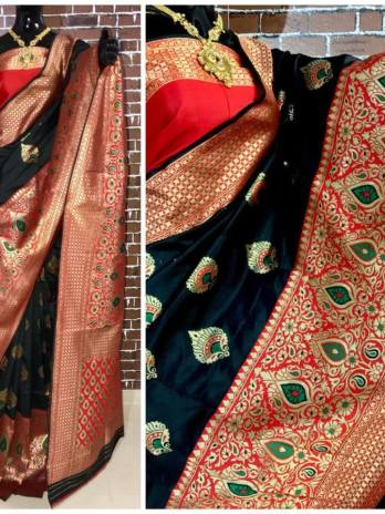 Banarasi Silk Saree with Contrast Zari Border