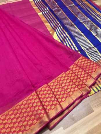 Pink Chanderi Cotton Saree