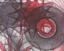 Detail of Maelstrom with red and black ballpoint pen ink.