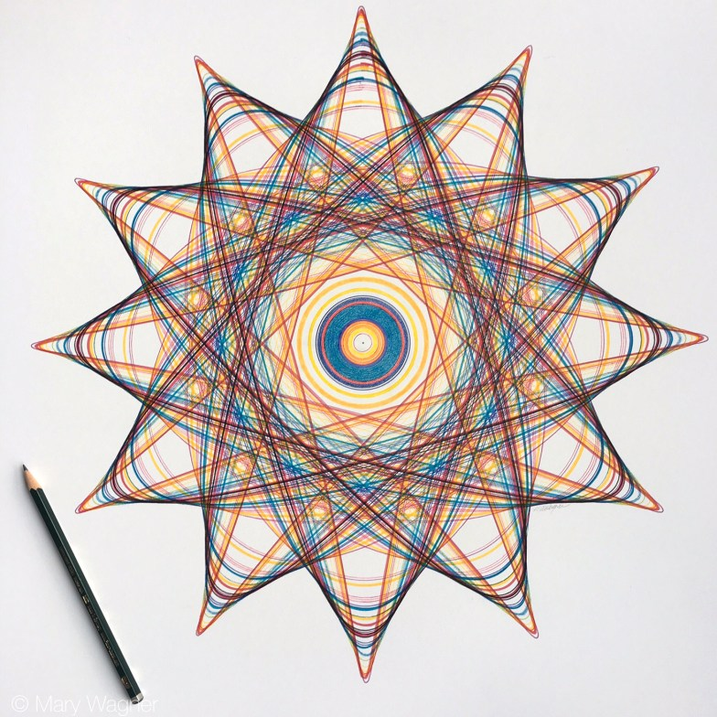 """Mary Wagner, """"Joost Up Colors"""", 20 x 20 inches, Faber-Castell Pitt artist pigment ink pens and Polychromos color pencil on Fabriano Artistico 100% cotton paper."""