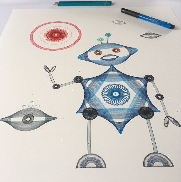 """""""Automata Robota"""", work in progress on drawing. © 2017 Mary Wagner. All Rights Reserved."""