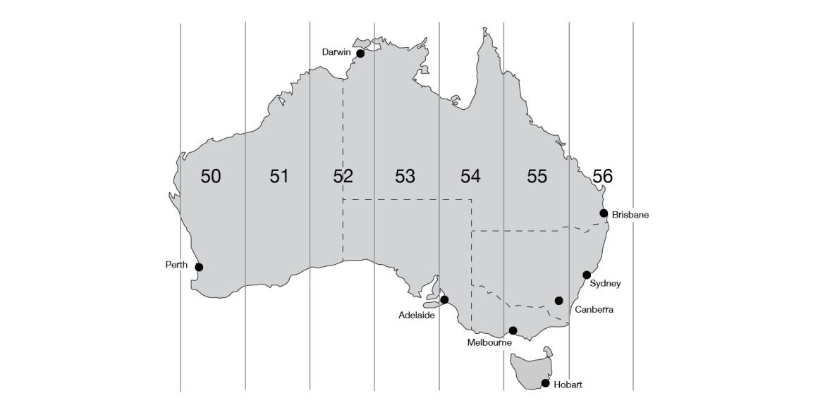 Map Grid of Australia showing grid zones