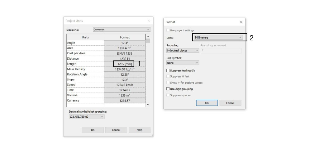 Revit length unit settings