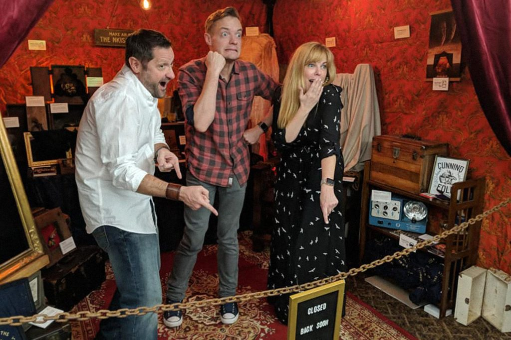 """Ghost Hunters' Grant Wilson and Kindred Spirits' Adam Berry & Amy Bruni take an """"after-hours"""" tour of the Newkirk collection."""