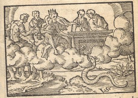 """Γραβούρα εμπνευσμένη από τον μύθο του Αισώπου """"Δίας και φίδι"""""""