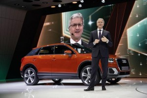 Prof. Rupert Stadler (Chairman of the Board of Management of AUDI AG) in front of the new Audi Q2 at the VW Group Night, Geneva International Motor Show 2016.