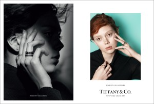 Model Natalie Westling wears Tiffany solitaire diamond earrings and Tiff...