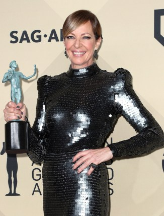 LOS ANGELES, CA - JANUARY 21: Actor Allison Janney, winner of Outstanding Performance by a Female Actor in a Supporting Role for 'I, Tonya', poses in the press room during the 24th Annual Screen Actors Guild Awards at The Shrine Auditorium on January 21, 2018 in Los Angeles, California. 27522_017 (Photo by Frederick M. Brown/Getty Images)