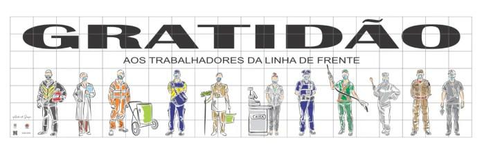 Associação dos condomínios homenageia profissionais da linha de frente com oito painéis em Curitiba