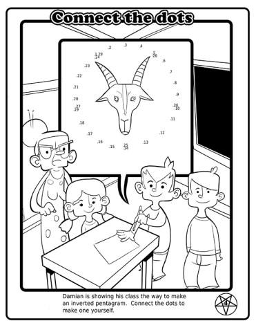 Damien montre à sa classe comment faire un pentagramme inversé. Connecte les points pour en faire un toi-même.