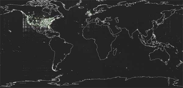 Plus de 18,000 observations d'ovni sur une carte mondiale