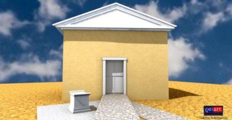 Reconstitution 3D de la possible tombe du philosophe Aristote, à Stagire, en Macédoine. Crédit: Kostas Simanidis