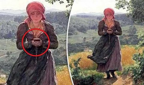 Preuve d'un voyage dans le temps? Une peinture de 1850 montre une femme « absorbée par son smartphone »