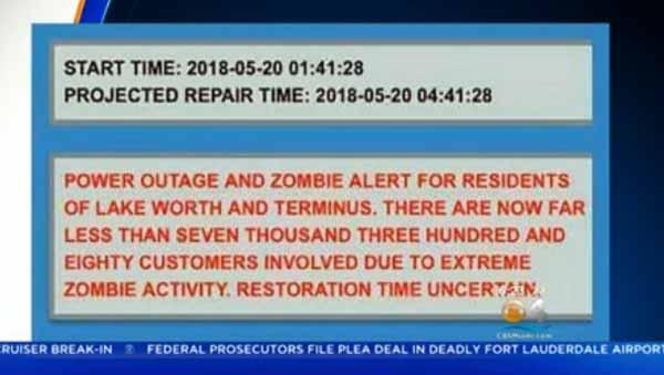 Vidéo: Une panne de courant provoque une Alerte aux Zombies aux USA