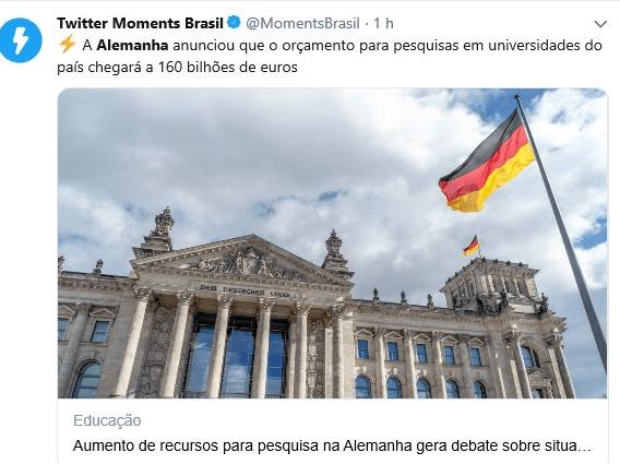 Alemanha anuncia 160 bilhões de euros em universidades e pesquisas, e hashtag #Alemanha cresce no twitter