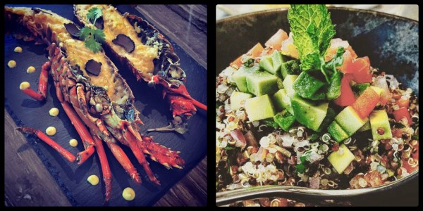 Grilled Truffle Lobster & Tesoro Tabouleh @ Tesoro Peruvian Restaurant. Business Bay. Dubai