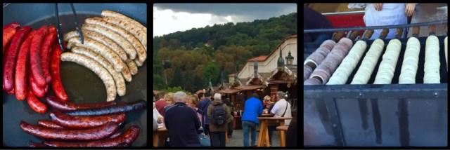 Food Stalls outside Prague Castle gates. Czech Republic.
