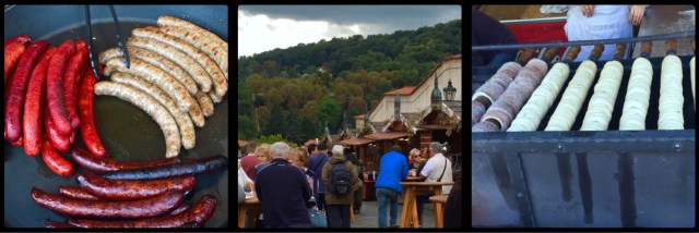 Food Stalls outside Prague Castle gates. Czech Republic.