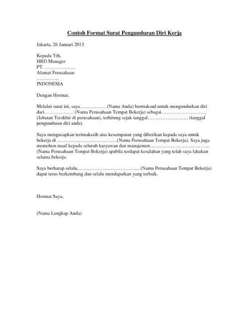 Contoh Surat Pengunduran Diri Di Alfamart Kumpulan Contoh Surat Dan Soal Terlengkap