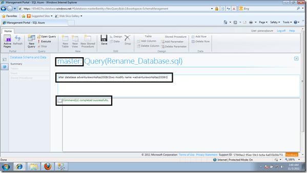 rename database SQL Azure