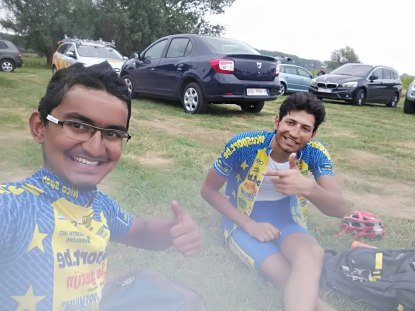 Celebrating my first finish, Arvind's second. :)