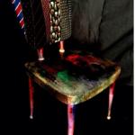 SOLE RODRIGUEZ_55_07, sedia deco francese dipinta in acrilico e rivestita con cravatte in seta e passamaneria di lusso, D