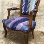 SOLE RODRIGUEZ_55_09, sedia in legno rivestita con cravatte in pura seta, F