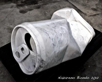 Nazareno Biondo -God's Coca- marmo di Carrara 170x90x70cm 2012...