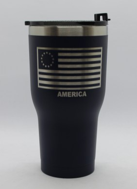 30 oz 13 Colonies Flag lid on