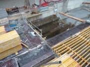Installation en vue du coulage de 2 blocs du 1er niveau de sous-sol