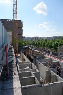 Le chantier vue de haut et d'Ouest en Est