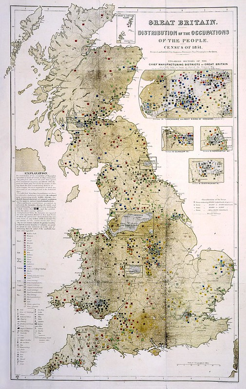 Historic map of the UK, with overlaid symbols to indicate typical local occupations according to the England and Wales census of 1851.
