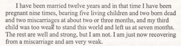 Letter to Sanger detailing twelve years of marriage with 9 pregnancies, five living children, 2 stillbirths and two miscarriages.