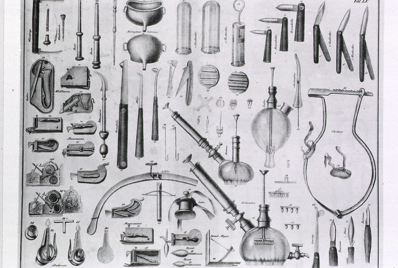 19th century Engraving showing a range of medical instruments