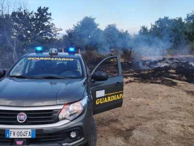 Guardiaparco impegnati in spegnimento incendio