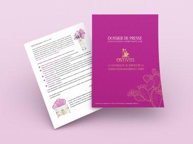 Pages de présentation du dossier de presse réalisé par l'agence digitale pardalys pour la marque Ostium cosmétiques.