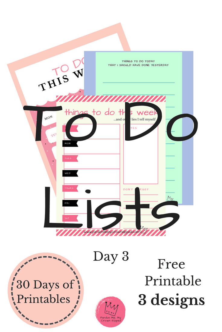 Need a great to do list for either every day or a whole week? Click here to get 3 pretty printables